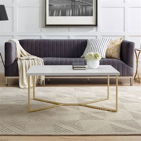 These tables are designed to occupy the center of your space. Contemporary Gold & Faux Marble Y-Leg Coffee Table | Mid century modern coffee table, Coffee ...