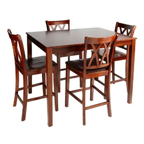 Walnut Dining High Top Table And Chairs 5 Piece Set
