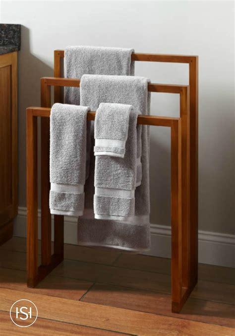 Towel Rack Ideas For Bathroom by Hailey Teak Towel Rack In 2019 Earthy Towel Rack
