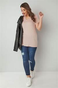 Rosa Kurzärmliges V-Ausschnitt Basic T-Shirt, in großen ...