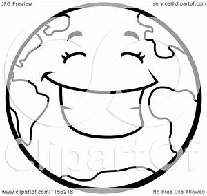 Cartoon Clipart Of A Black And White Smiling Happy Earth ...