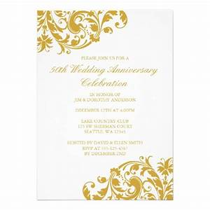50th wedding anniversary gold swirl flourish 5x7 paper With 50th wedding anniversary invitation