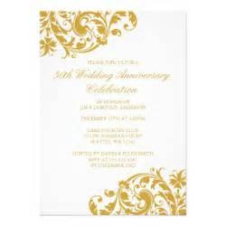 50th wedding anniversary gold swirl flourish 5x7 paper With 50 wedding anniversary invitations
