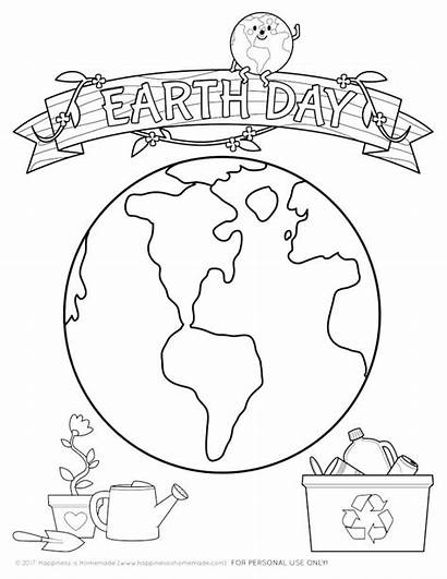 Earth Coloring Pages Printable Crafts Happiness Mlk