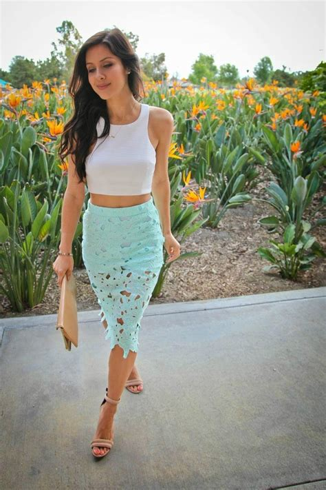 Mint Skirt Outfits- 25 Ideas How to Wear Mint Colored Skirts