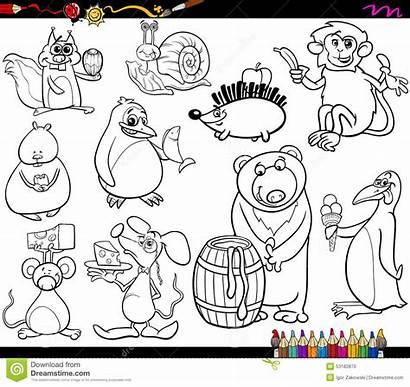 Coloring Animals Cartoon Funny Favorite Illustration Banana