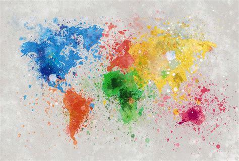 deco chambre femme papier peint carte du monde colorée moderne et design