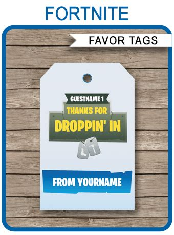 fortnite party favor tags template fortnite   tags