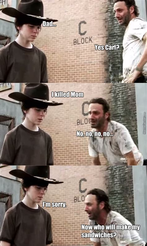 Walking Dead Carl Meme - the walking dead meme rick and carl www imgkid com the image kid has it