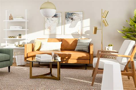 modern living room design  ways    mid century style