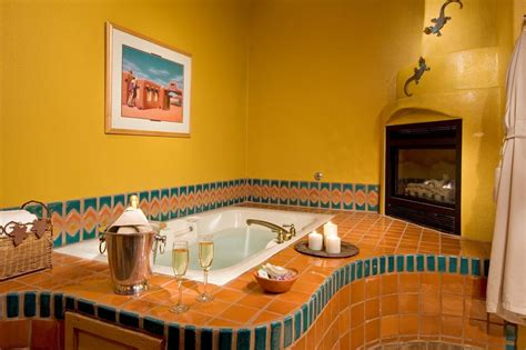 Oversized Jetted Tub by Puerta Cobre Entrance And Tub With Fireplace