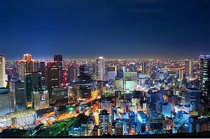 Osaka Japan Night Metropolis Wallpapers Lights Background