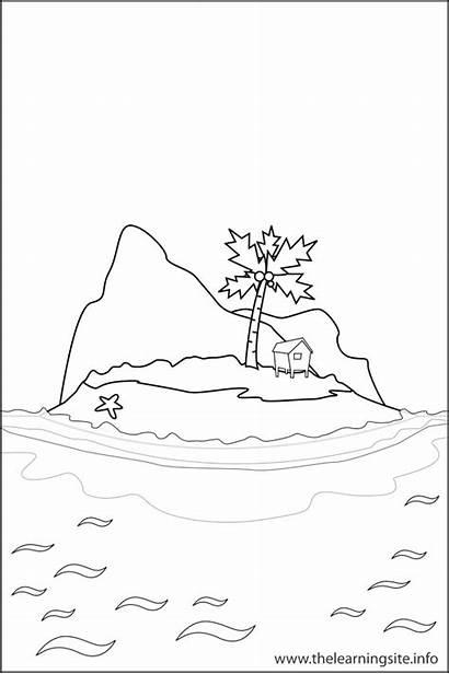 Coloring Landform Island Pages Landforms Printable Outline