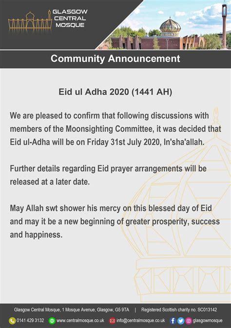 Eid ul Adha 2020 – Glasgow Central Mosque