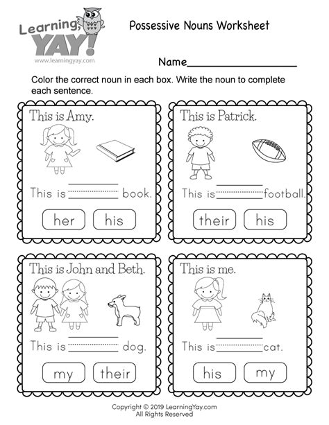 The winner of the game is the student with most matching pairs. 1st Grade English Worksheets (Free Printables)