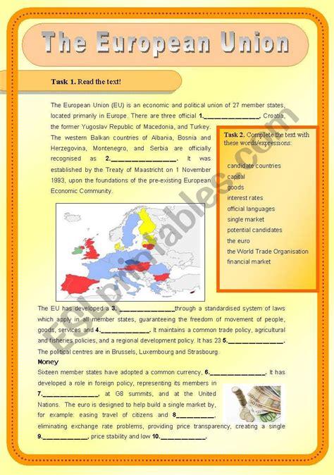 the european union esl worksheet by betti