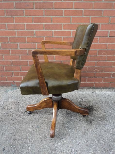 antique leather upholsted swivel office chair desk chair