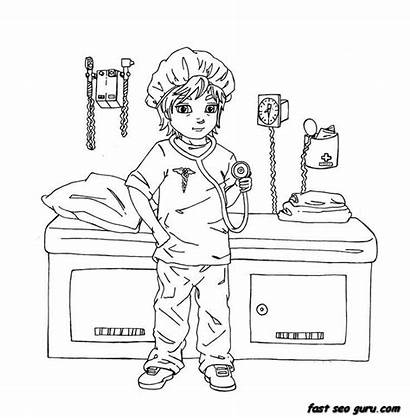 Doctor Coloring Printable Woman Clipart Female Clip