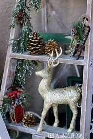 rustic glam christmas decor - Christmas Ladder Decor