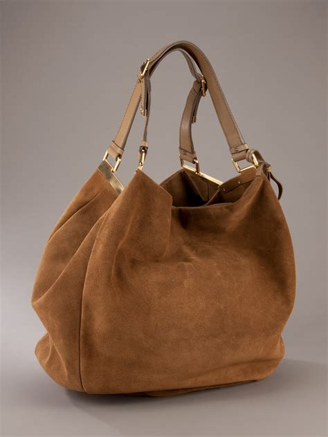 giuseppe zanotti suede bag brown lyst
