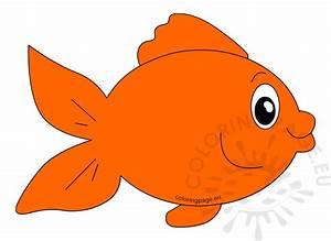 Cute orange fish cartoon vector image – Coloring Page