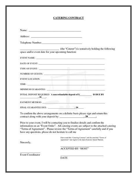 catering contract template 20 printable blank contract template exles thogati