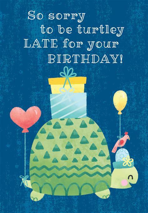 turtle belated birthday birthday card