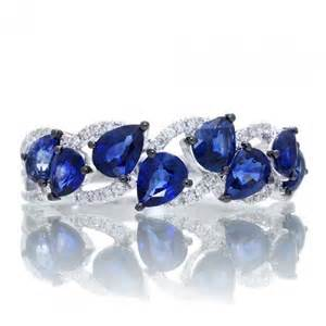 mens wedding band blue sapphire anniversary band pear shape royal blue ring 18k white gold