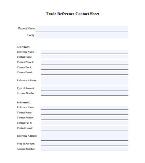 reference sheet template 6 sle trade reference templates pdf sle templates