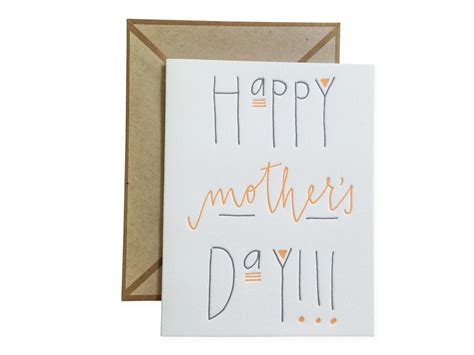 happy mothers day letterpress card  blank