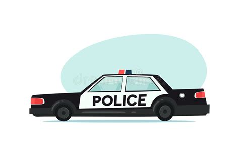 Cartoon Police Car Icon. Isolated Objects On White