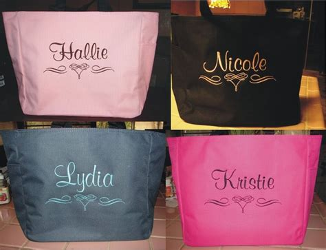 wedding tote bag personalized bridesmaid scroll bridal