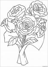 Roses Flower Coloring Printable Coloringpagesonly sketch template