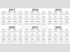 Six Year Calendar 2017, 2018, 2019, 2020, 2021 And 2022