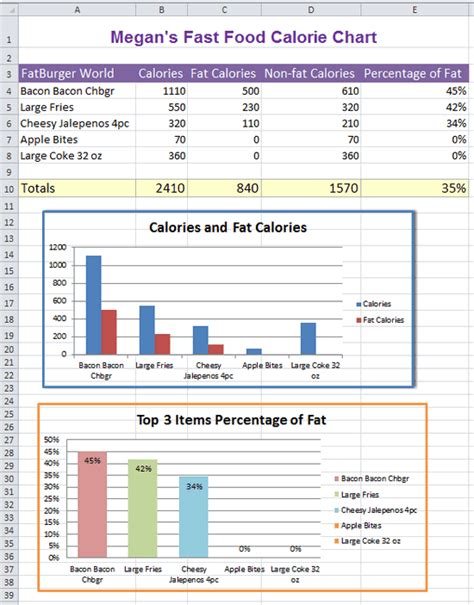 food calorie spreadsheet excel fast food nutrition facts k 5 computer lab
