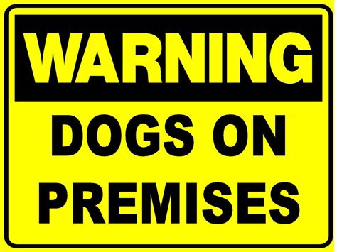 warning dogs  premises mm  mm metal sign