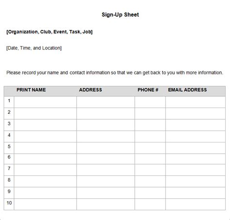 Sign Up Sheet Template Word Sign Up Sheets 58 Free Word Excel Pdf Documents