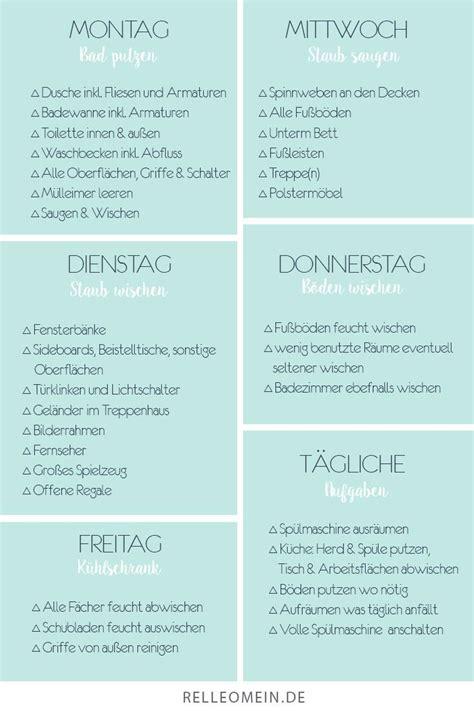 Putzplan Für Die Wohnung by Mein W 246 Chentlicher Putzplan F 252 R Ein Sauberes Zuhause