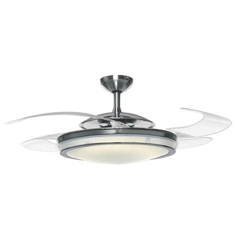 retractable blade ceiling fan shop hunter fanaway retractable blade 48 in brushed chrome