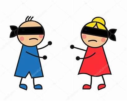 Geblinddoekt Elkaar Kinderen Zoeken Ojos Blindfolded Cartoon