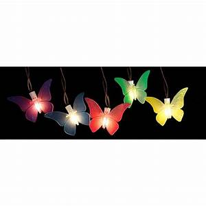 Dragonfly Patio Lights String 10 Light Multi Color Battery Operated Butterfly