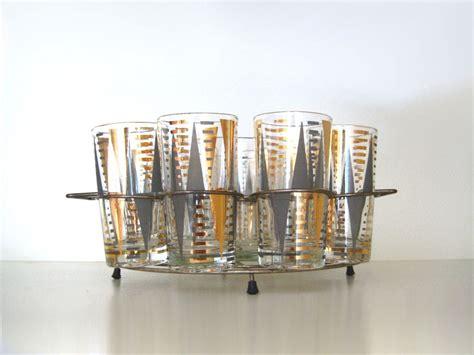 Vintage Mid Century Modern Gold Gray Drinking Glass Set