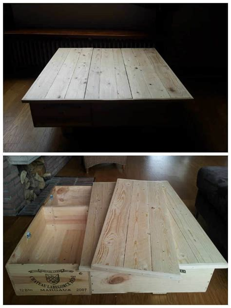 coffee table    upcycled wine boxes pallet top