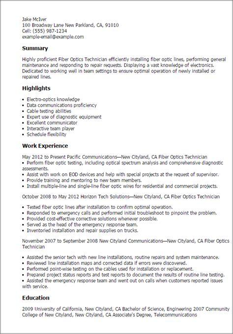 fiber optics technician resume templates