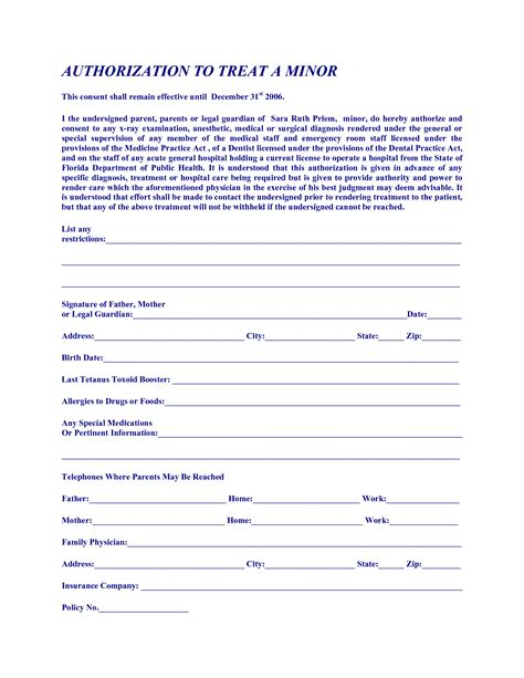 free printable medical consent form for grandparents 6 best images of printable medical permission forms free