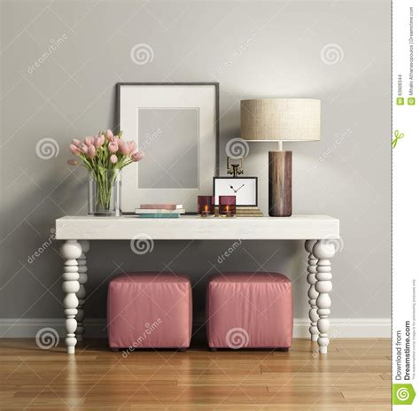 sofa table and stools elegant chic brown console table with stools stock