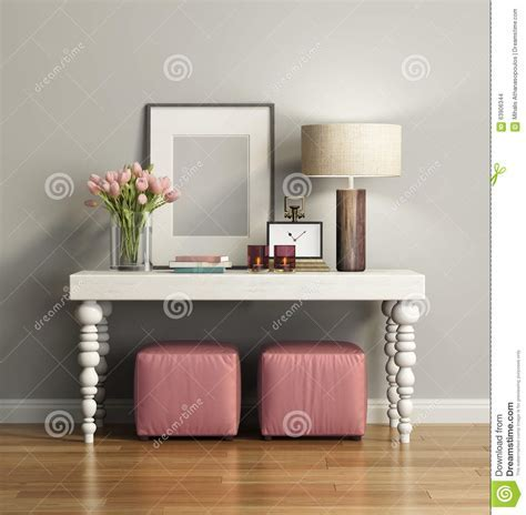 Elegant Chic Brown Console Table With Stools Stock
