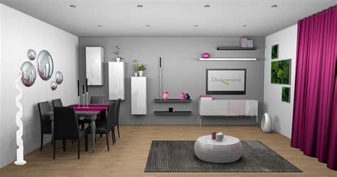 cuisine et decoration déco salon mûr gris et blanc touche de couleur fushia