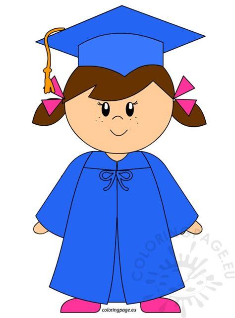 kindergarten graduate clip coloring page 656   kindergarten girl graduation