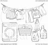 Washing Laundry Line Clothes Machine Clipart Basket Drying Air Clip Coloring Vector Clothesline Lineart Detergent Sketch Visekart Template sketch template
